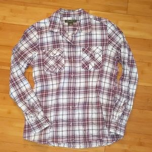Eddie Bauer white purple checkered flannel medium